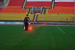 GPR surveys over heating pipes at football stadium